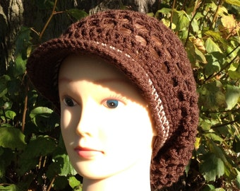 Brown Mesh Visor Slouchy Tam with cream stripes in Adult Regular