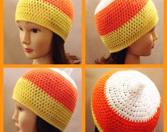 Candy Corn Beanie Crochet Pattern for child, teen and adult