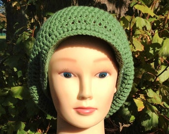 Visor Slouch Hat in green with white stripes in an Adult Regular