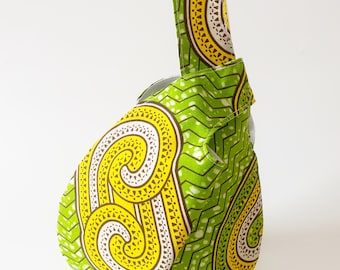 Small Japanese Knot Bag in green, yellow and white African Ankara wax print