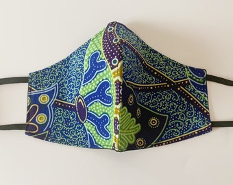 Reversible and Reusable cotton Adults Face Mask in a Green, blue and yellow African Ankara wax print