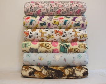 Fleece and Flannel Fun Cat Throw Blankets - Cat Themed Blankets