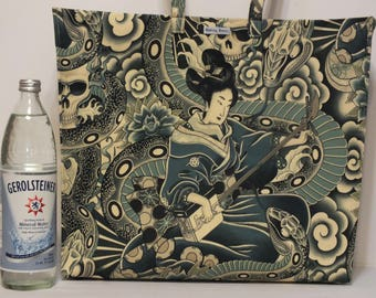 One-of-a-Kind Market Line Bag, in cotton print Geisha Snake Charmer