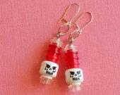 red skull - earrings made with toy building blocks / LEGO® bricks- sterling, skeleton