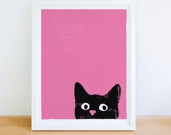 Small Cat Art Print Oh Hai Black Cat Print Kitty Wall Art Nursery Print Home Office Art Wall Decor