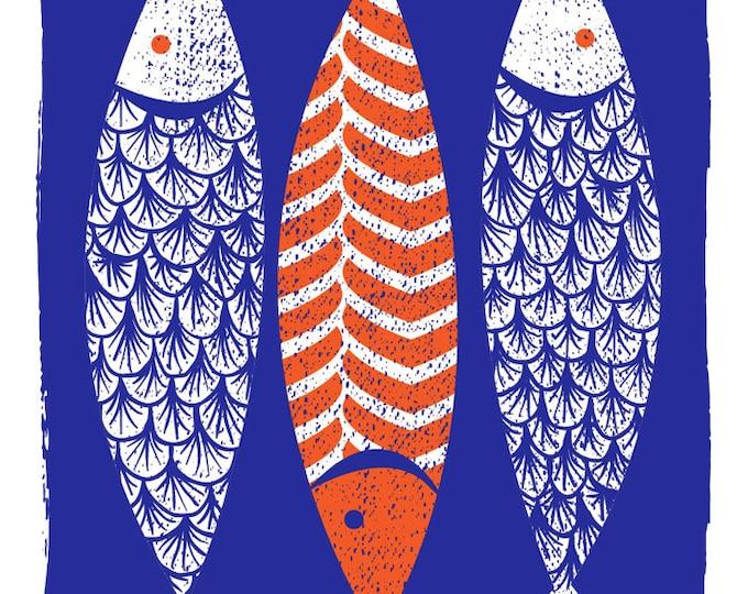 Modern Art Screenprint Scandinavian Style  - 3 Fish Art Print - Indigo Wall Art - Silkscreen Modern Print Kitchen Art - Three Fishes