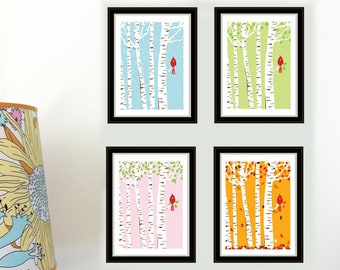4 Seasons Cardinal Bird Art Prints - Birch Trees Print Set - Cardinal Prints Wall Art Nursery Decor Nursery Art Prints Seasonal Decor