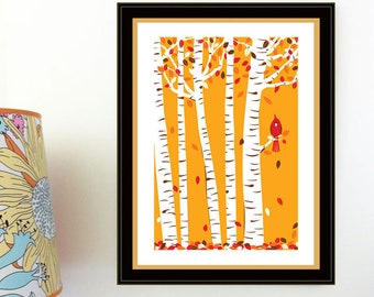 Autumn Cardinal Print Screenprint - Fall Leaves & Red Bird Birch Tree Art Print Silkscreen Wall Art Handmade