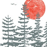 Evergreen Trees FREE SHIP Screenprint - Art Print Silkscreen - Red Sun Northwest Forest Poster Woodland Art Print