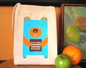 Screen printed Lunch Bag - Lunch Bear - Eco Friendly 100% Recycled Cotton