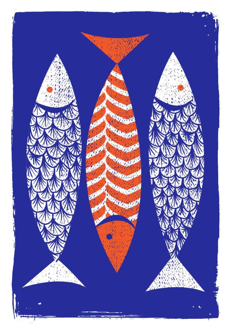 Modern Art Screenprint Scandinavian Style   3 Fish Art Print image 0