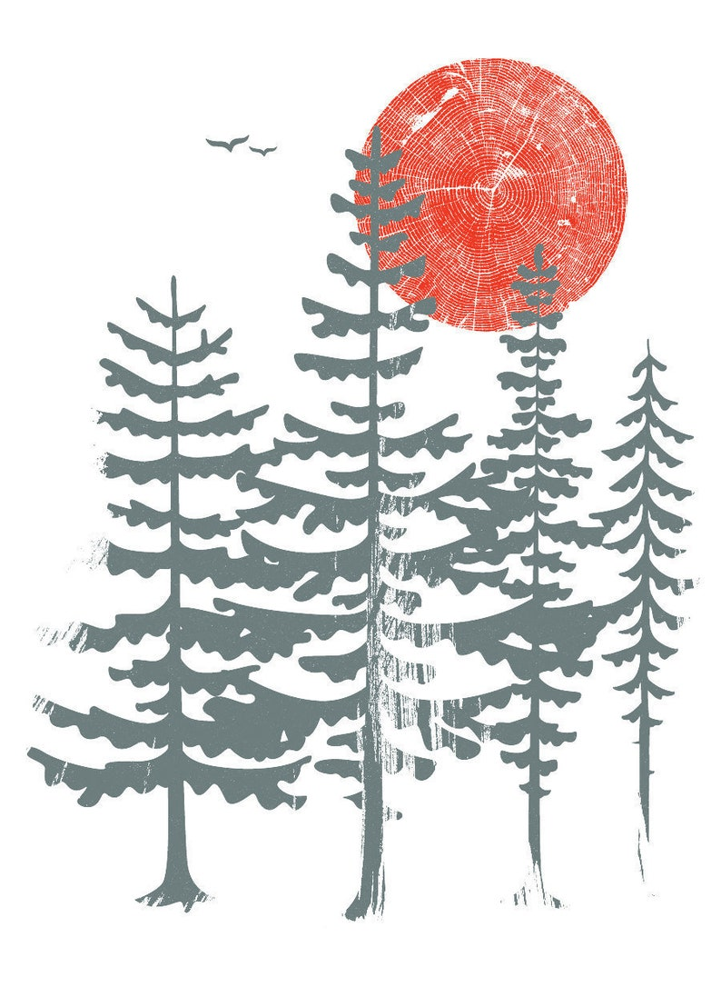 Evergreen Trees FREE SHIP Screenprint  Art Print Silkscreen  image 0