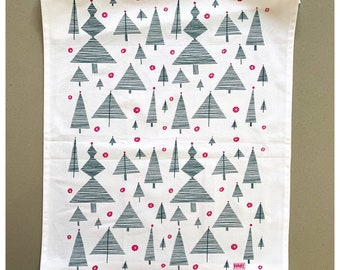 Evergreen Christmas Trees and Baubles Tea Towel Cotton Kitchen Towel