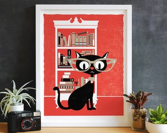 Giclee Black Cat Lucky 13 Library Kitty Small Office Print Cat Glasses Print Wall Decor Wall Art Kids Room Art