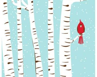Screenprint Winter Cardinal Art Print - Silkscreen Wall Art - Snowy Trees Red Bird and Birch Trees Home Decor