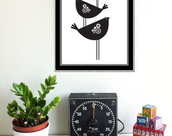 Minimalist Art Screenprint Black and White Bird Art - We Fly On The Back Of Our Forebears Print - hand pulled print silkscreen