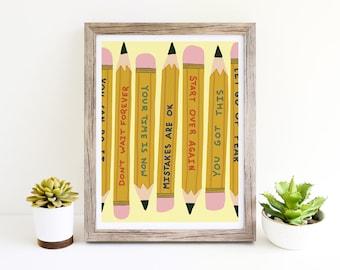 You Got This Inspirational Art Print Pencils - Giclee Print Power Up Home Office Wall Art Wall Decor Kids Room Art