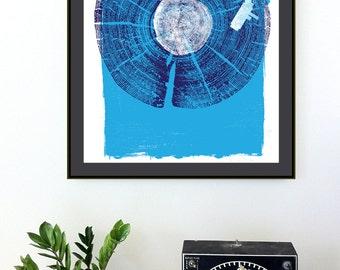 Screenprint Record Player Art Print Wood Texture Vinyl LP Art Silkscreen - Nature Sounds - Indigo Blue - Wall Art Decor