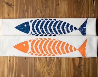 3 Fish Cotton Tea Towel Kitchen Towel Hand Silkscreen Printed Textile Flour Sack Style Towel