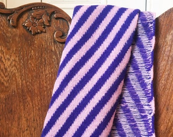 Felted Scarf with Diagonal Stripes in Lilac & Purple - Geelong Lambswool - Striped woollen scarf - Handmade in Scotland