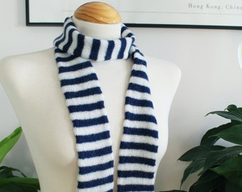 Breton Stripe Scarf in Navy and White, Handmade in Scotland from Pure Wool, Skinny Knit Scarf