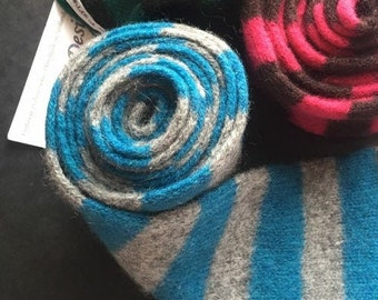 Teal Blue and Grey Skinny Knit Scarf - Felted Merino Lambswool - Handmade in Scotland by WildCat Designs