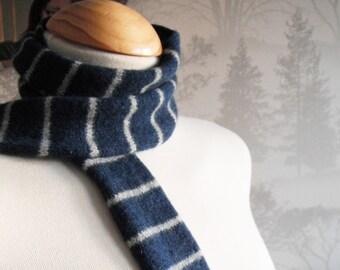 Navy & Grey Skinny Knit Scarf - Felted Merino Lambswool - Striped unisex wool scarf, handmade in Scotland