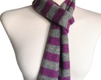 Skinny Striped Scarf in Purple & Grey, Felted Merino Lambswool, Scottish Knitwear by WildCat Designs, Handmade in Scotland