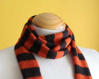 Orange and Chocolate Brown Striped Wool Skinny Scarf, Handmade in Scotland by WildCat Designs