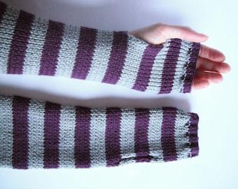 Fingerless Mittens in Slate and Purple - Handknitted Woollen Arm Warmers. Handmade in Scotland