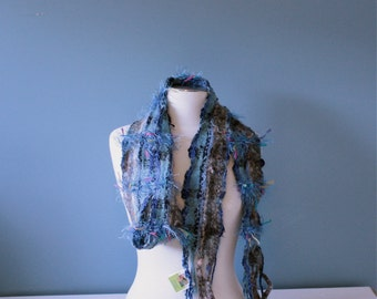 Plaid BL03, an Everyday Scarf in baby blues handwoven and felted by me