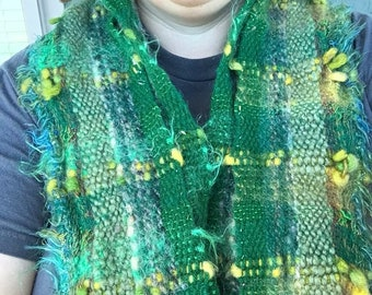 Green Dragon G02, Everyday Scarf handwoven and felted by me