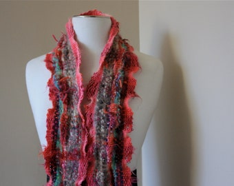 Rose Garden P06, an Everyday Scarf in pink handwoven and felted by me