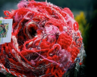 Cherry R03, an Everyday Scarf in red with white handwoven and felted by me