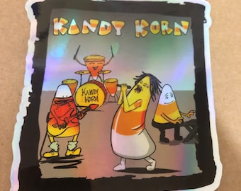 One Four inch vinyl sticker — Kandy Korn Candy Corn Band Halloween holographic