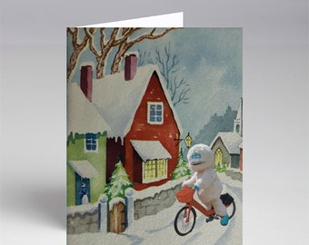 10 Pack Happy Yeti Rides Her Bike Past Our Snowy House Christmas Xmas Cards