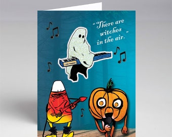 Single Or Pack of Five Little Pumpkins Band Halloween card A7 size with envelope