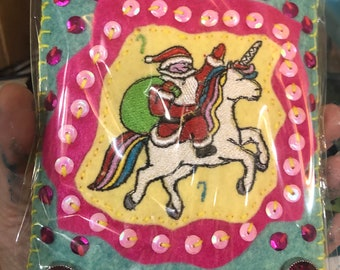 Santa and Unicorn are besties Embroidered Felt Ornament with pink jewels