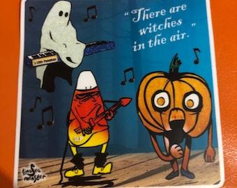 One Four inch vinyl sticker — Five Little Pumpkins Band Halloween