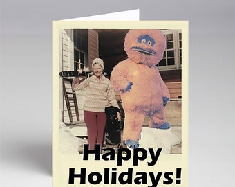 10 Pack Happy Holidays from This Yeti Who Went on a Ski Trip Christmas Xmas Cards