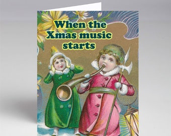 10 Pack When the Christmas Music Starts Xmas Cards