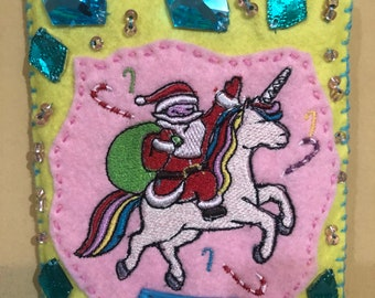 Santa and Unicorn are besties Embroidered Felt Ornament Yellow