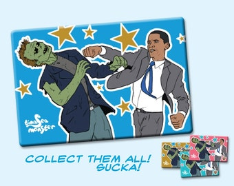 Obama Vs Zombies 2 by 3 inch Fridge Magnet