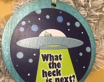 Aliens coming soon 2021 Holiday Xmas tree wooden Ornaments