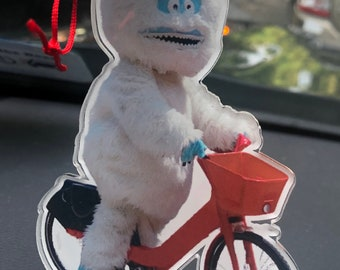 Yeti on a Bike Acrylic Holiday Xmas Christmas tree wooden Ornament with bells