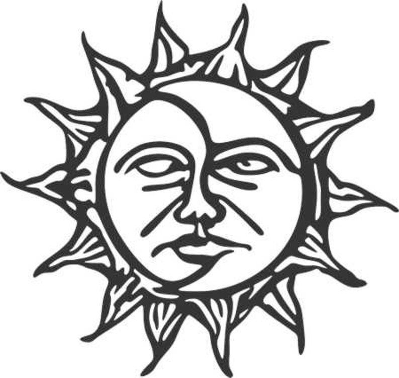 Sun And Moon Dxf And Svg File For Cnc Plasma Metal Art Water