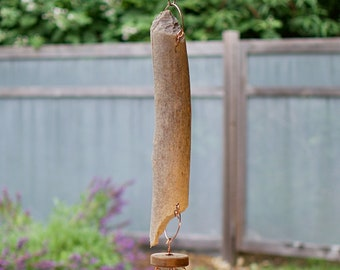 Beaver Gnawed Driftwood Wind Chime Large Outdoor Five Copper Chimes
