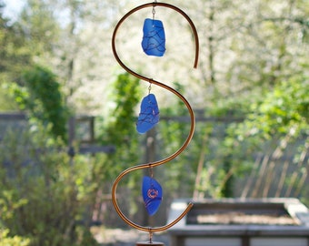 Wind Chime Copper Sea Glass Outdoor Large Windchimes