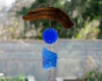 Wind Chime Driftwood Sea Glass Copper Outdoor Windchimes