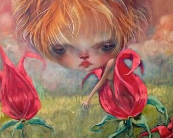 Tulip Blooming print from original painting
